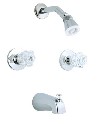 Banner 140 Series Tub And Shower Faucet With Two Acrylic Handles Diverter Spout