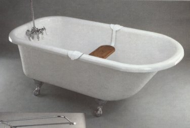 picture of a Barclay roll top acrylic clawfoot tub, shown in white