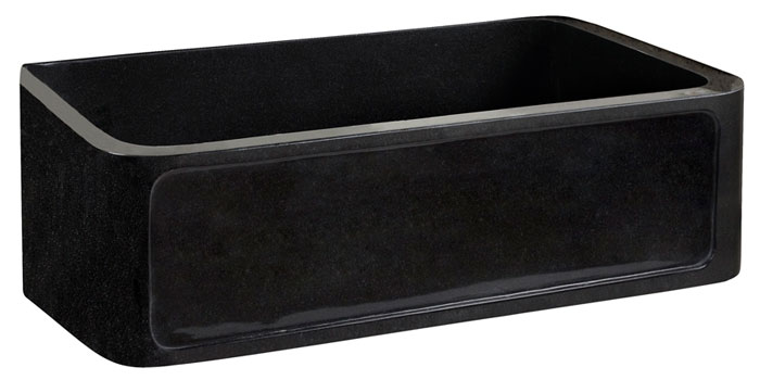 ... the Ankra single bowl black granite farmer sink with framework front