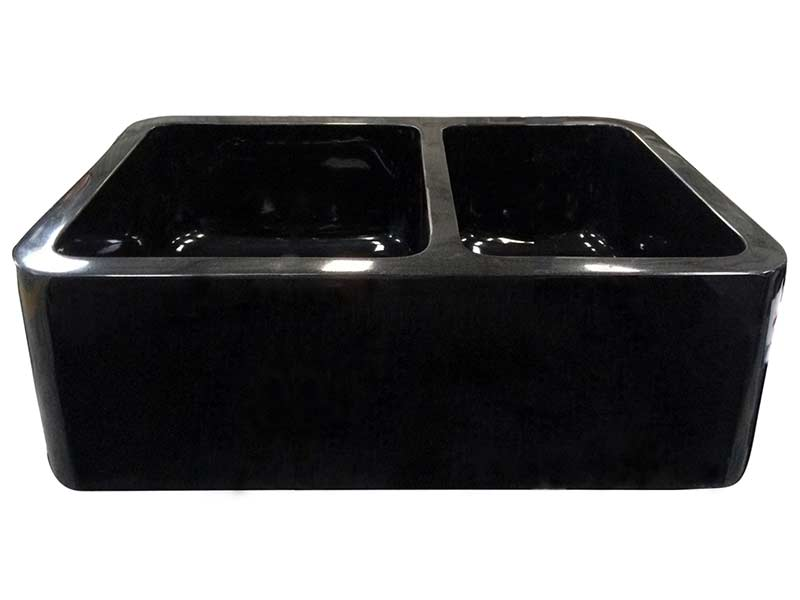Example of an Aubrey granite double bowl farmer sink in black