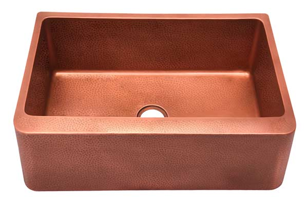 Barclay Bentley single bowl copper farmhouse sink with smooth front