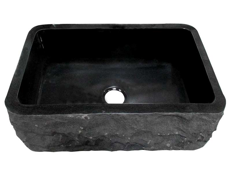 Birgitta single bowl black granite farmer sink with chiseled front