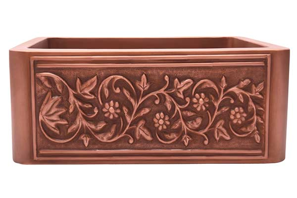 Barclay Cilantro single bowl copper farmhouse sink with embossed floral design