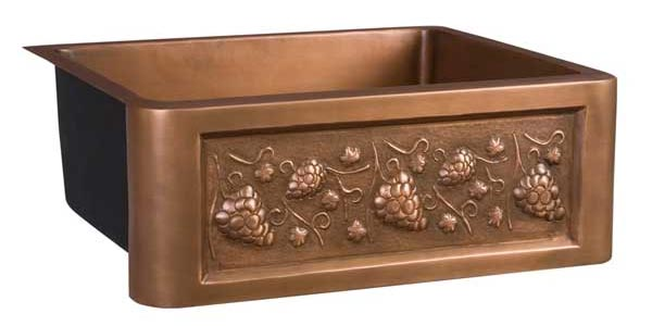 barclay concord single bowl copper farmhouse sink with embossed grapevine design