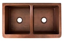 top view of double bowl copper farmer sink