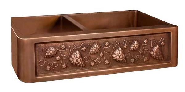 Click for larger example of this double bowl copper farmer sink with grape motif