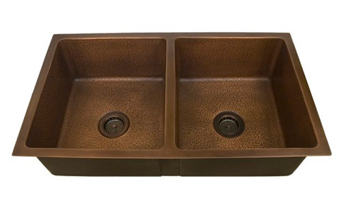 Barclay double bowl undermount copper sink