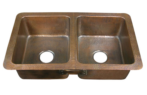 Double bowl drop-in copper kitchen sinks