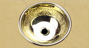 solid polished brass round lavatory sink