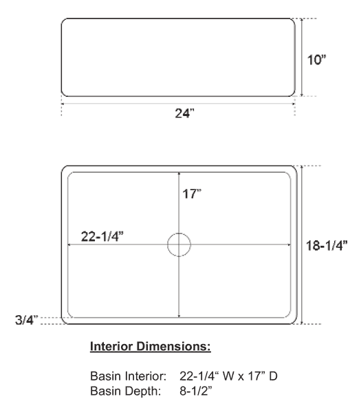 Sink View Dimensions