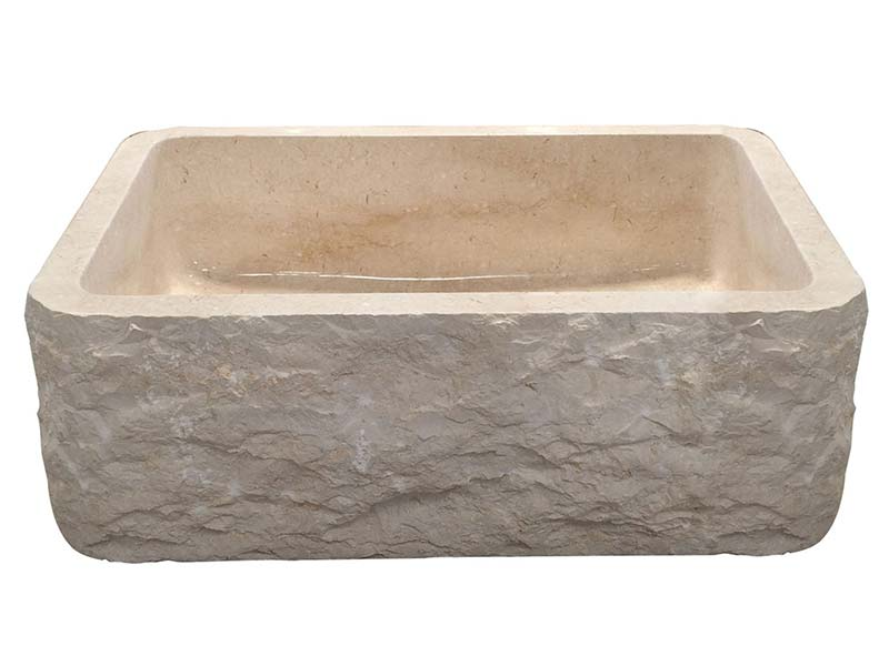 McKinley chiseled single bowl apron front sink in Egyptian Galala marble
