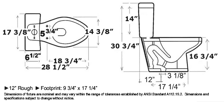 elongated toilet dimensions on