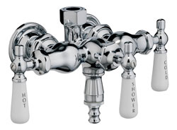 Photo of old style clawfoot leg tub faucet, shown in chrome