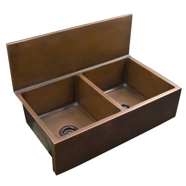 Click for larger example of this double bowl copper farmer sink