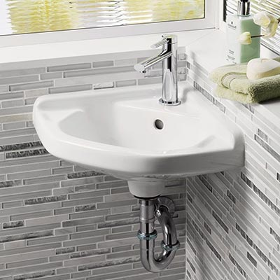 barclay corner wall mounted bathroom sink installed