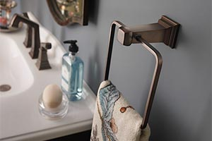 Bathroom towel ring with sink