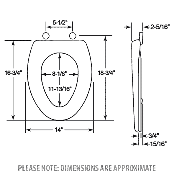 Bemis elongated toilet seat dimensions
