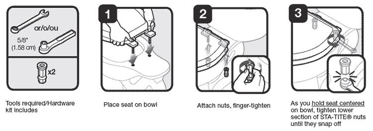 changing a toilet seat.  seat bolt installation instructions Great looking commercial toilet seats for your high traffic restroom