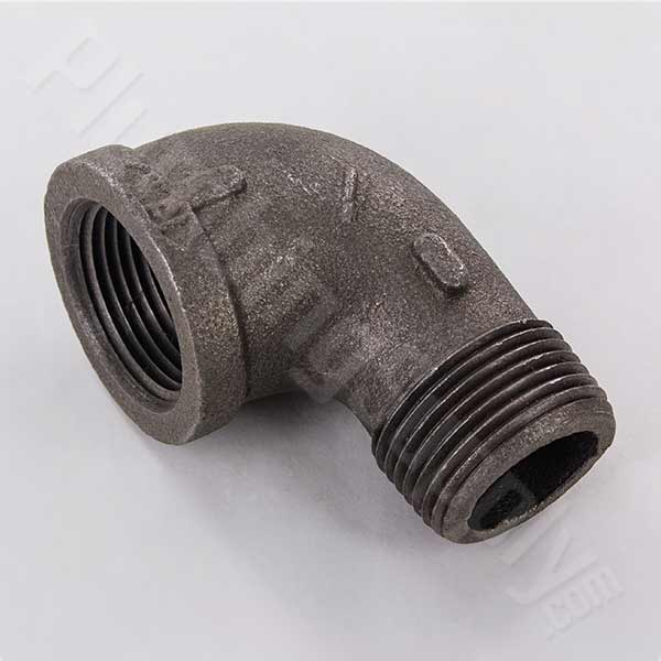Black malleable iron pipe fittings and steel nipples