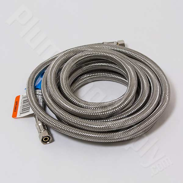 "Braided stainless steel supply line - 1/4"" OD, 120"" length"