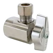 View image of chrome compression inlet quarter turn angle stop