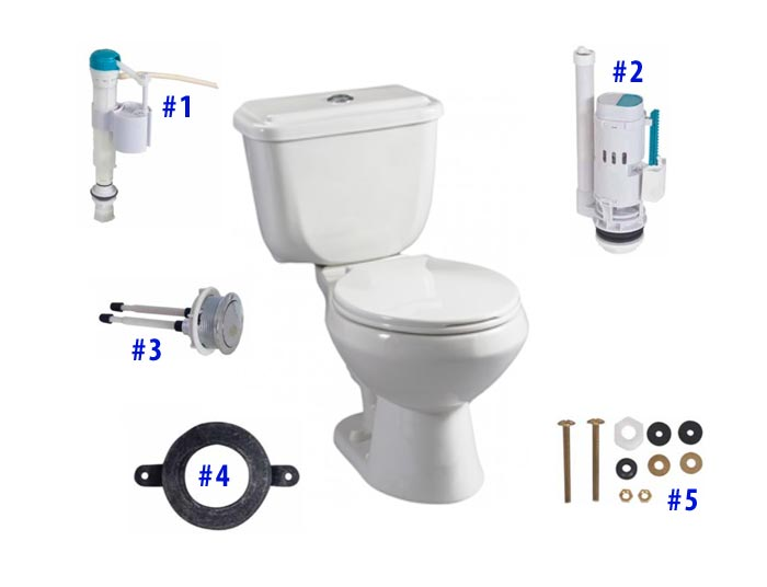 Parts diagram for Conserver push button toilets