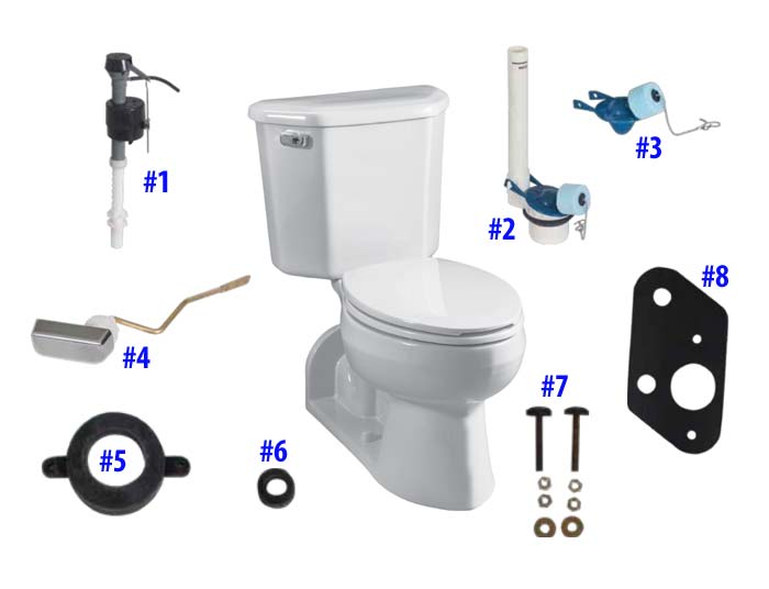 Parts diagram for Vacuity two-piece toilets