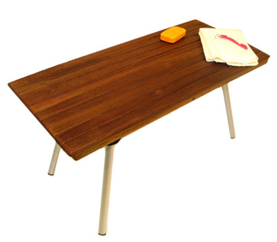 example of a portable teak shower bench