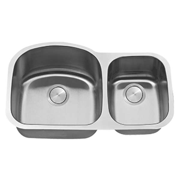 Stainless steel LI-100 offset 60/40 double bowl kitchen sink