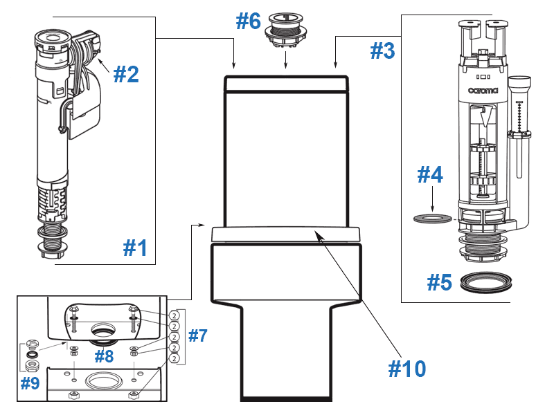 Parts diagram for Brisbane toilets