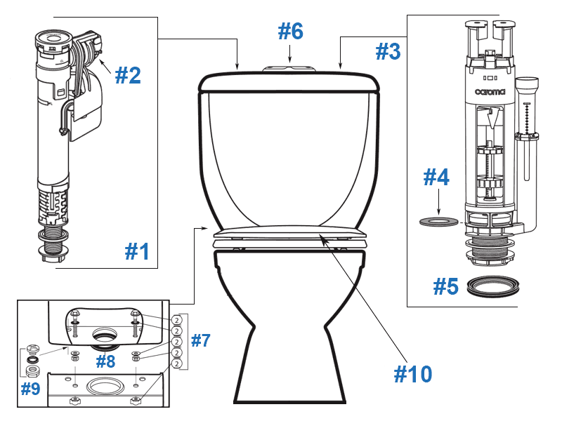 caroma royale toilet replacement parts