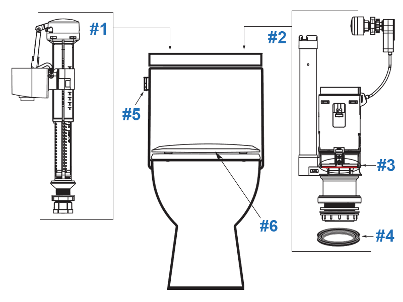 Parts diagram for Caravelle Smart one-piece toilets with lever style trip lever