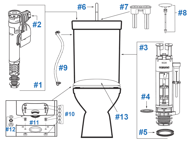 Parts diagram for Profile Smart two-piece toilet - tank #840420