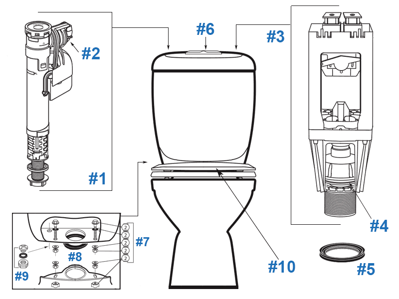 Parts diagram for Reflections two-piece toilet - tank #629530