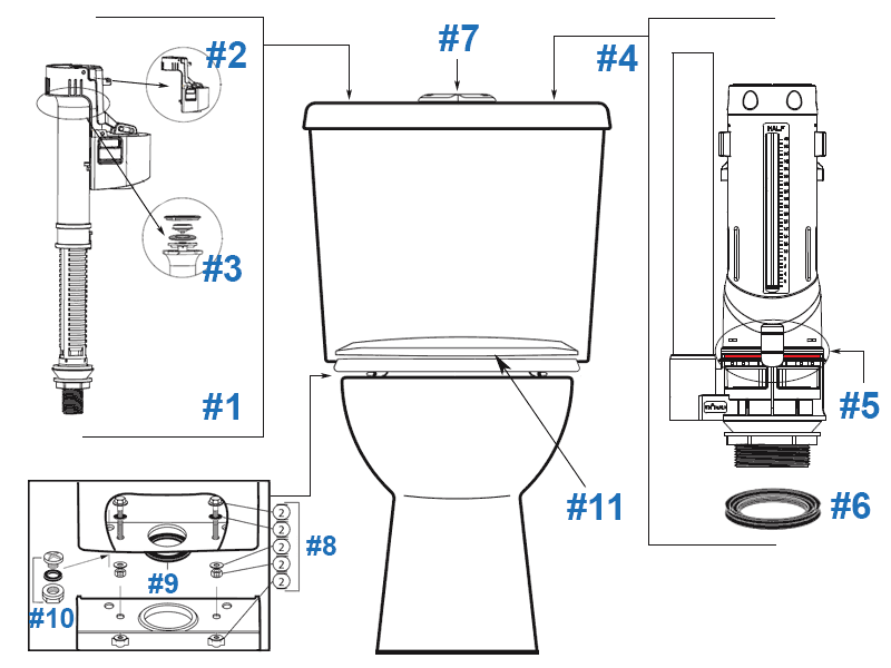 Parts diagram for Sydney Smart II two-piece toilets - tank #302100