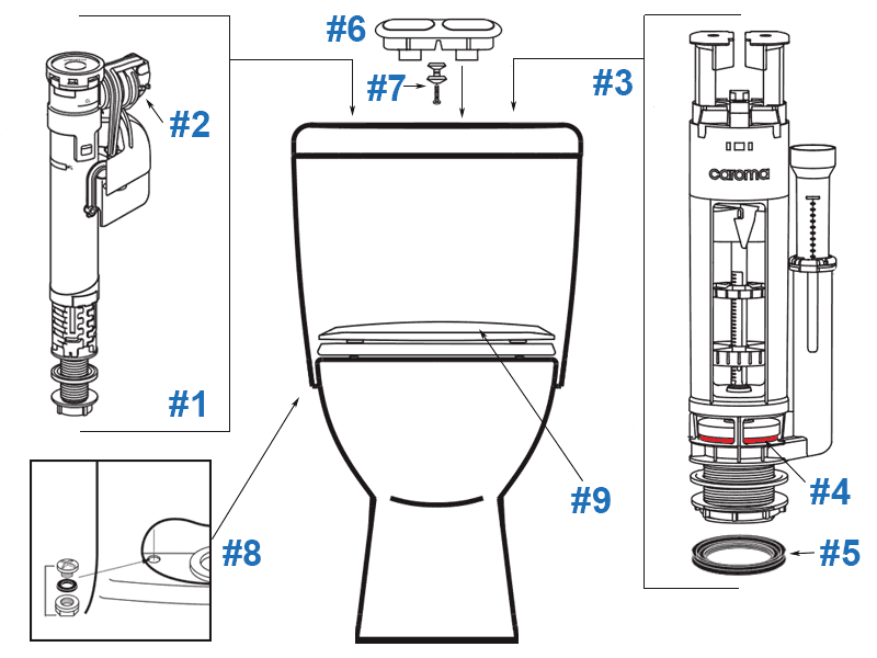 Parts diagram for Sydney Smart one-piece toilets - models #828808 and 828908