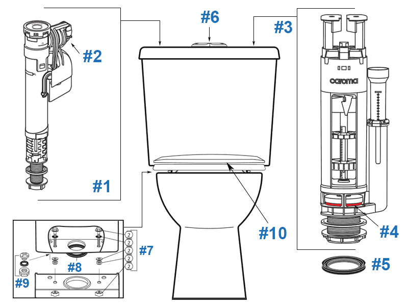 Parts diagram for Sydney Smart Point 8 two-piece toilets - tank #622328