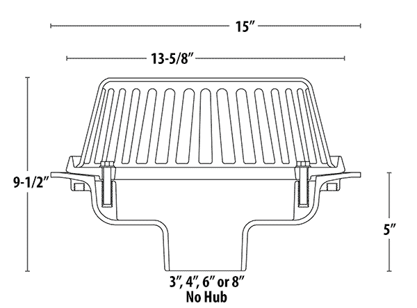 Commercial roof drains pvc abs and cast iron no hub couplings are available separately view dimensions publicscrutiny Image collections
