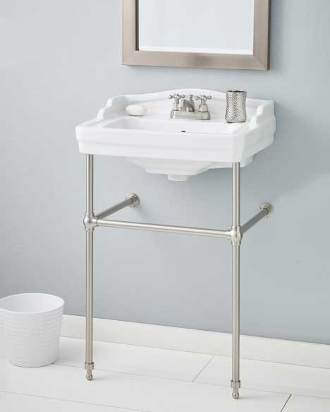 Incroyable View White Sink With Brushed Nickel Console And Towel Bar