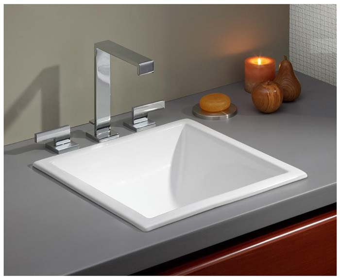 Image Of Cheviot Square Drop In Basin Installed As Sink
