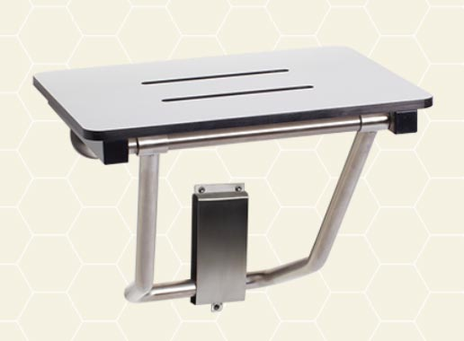 Wall mount compact folding shower seats to aid those with for Table murale retractable