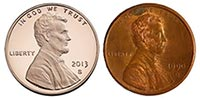 Example of old patina-ed penny vs new copper penny
