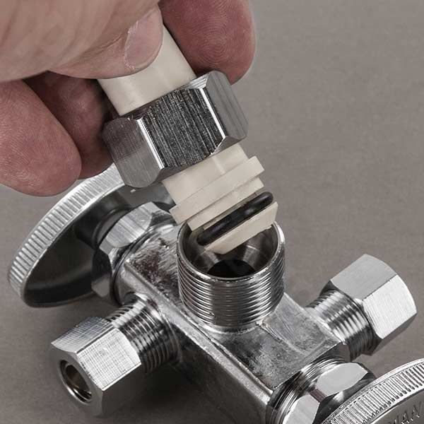 CPVC compression fitting x spigot in act of being installed
