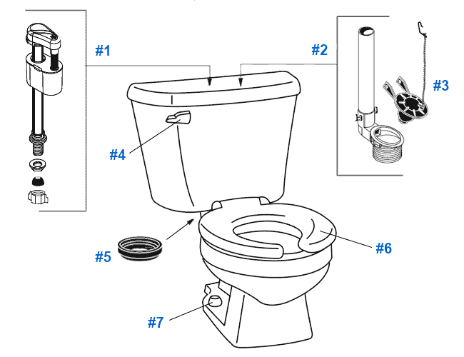 Crane Plumbing Parts : Repair replacement parts for crane baby bowl toilets