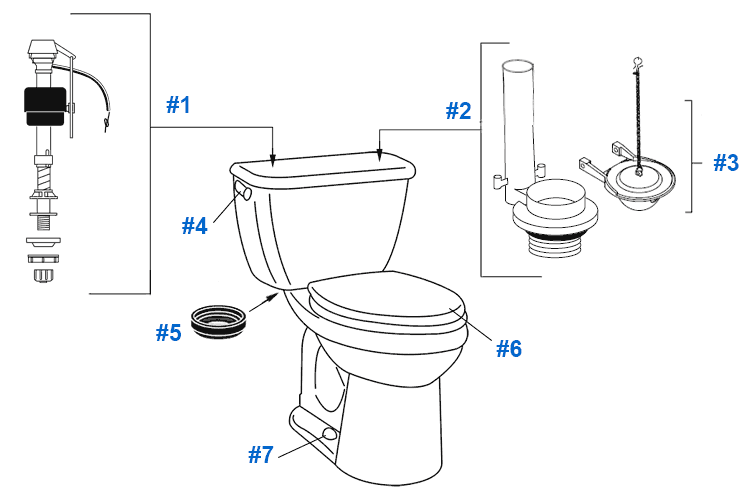 Parts diagram for Crane BigFoot toilets