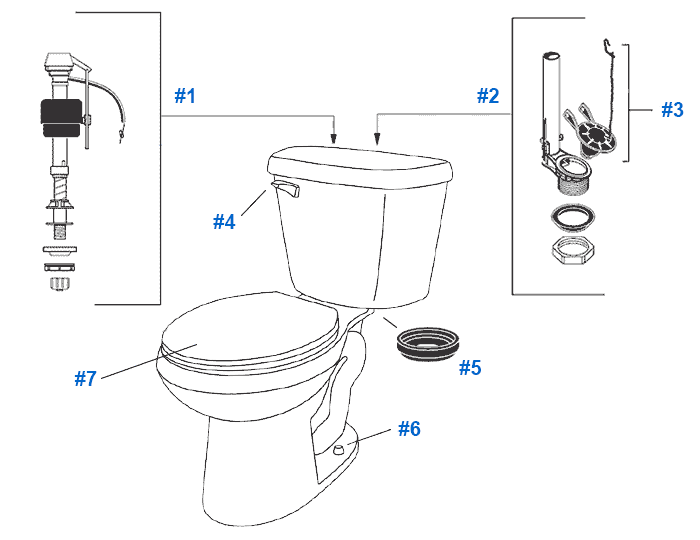 Crane Plumbing Parts : Repair replacement parts for crane galaxy cranada toilets