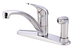 Danze Melrose single handle kitchen faucet with side spray, shown in chrome