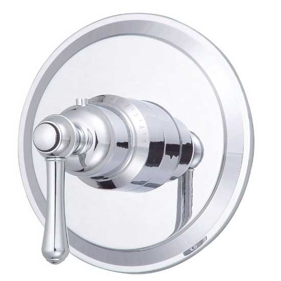 Opulence Collection trim package for thermostatic valve, shown in chrome