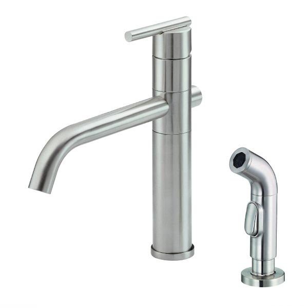 D400058SS, Contemporary Kitchen Faucet With Side Spray, Stainless Steel ...