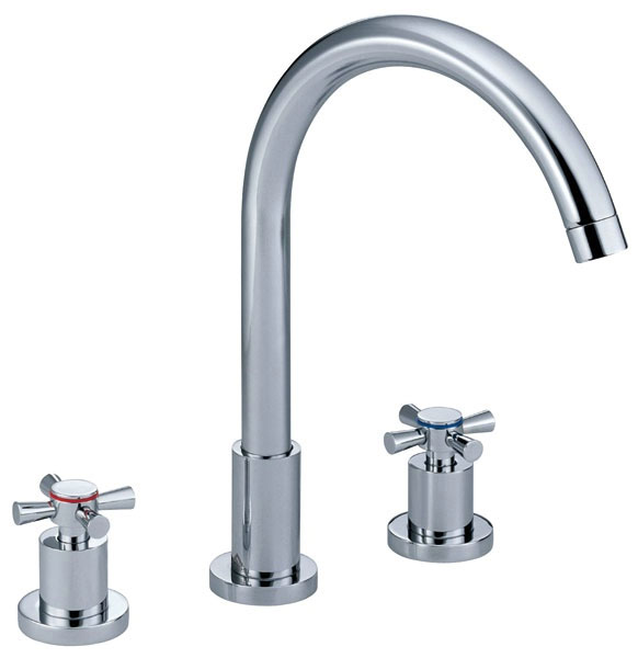 Danze Widespread Bathroom Faucet With Cross Handles Shown In Chrome